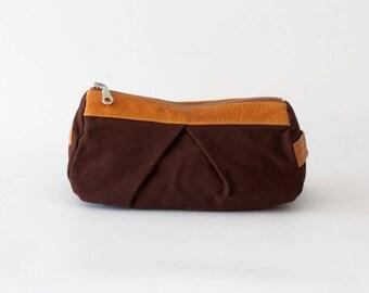 Brown canvas makeup bag with brown leather, pencil case makeup bag cosmetics accessory bag toiletry storage case - Estia Bag