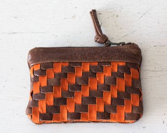 Handwoven brown leather with orange strips zipper pouch coin purse zipper case small money bag credit card zip - The Leto pouch