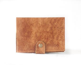 Brown distressed leather bifold wallet, phone wallet bifold womens large leather phone wallet minimalist - Iole Wallet