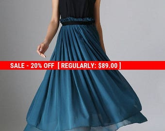 Black dress, dark green dress, chiffon dress, maxi dress, sleeveless dress, summer dress, party dress, made to order,  (965)