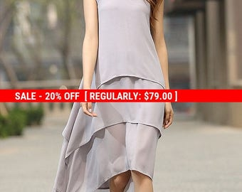 grey dress, chiffon dress, layered dress, high low dress, womens dresses, loose fitting dress, sleeveless dress, handmade dress  (932)