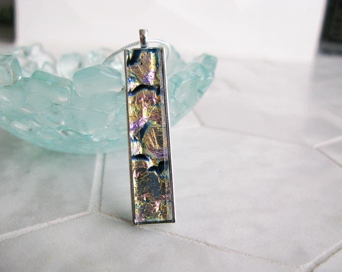 unique pendant, tall modern Glass Necklace, Handmade Glass Pendant, Fused Glass, dichroic glass, bar pendant, rectangle