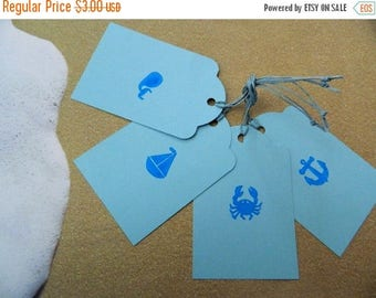 ON SALE Seaside Gift Tags - Blue Tags - Ocean - Beach - Paper Tags - Present Toppers - Crab - Boat - Anchor - Whale - Vacation Gifts
