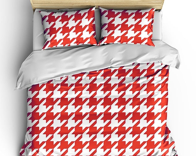 Alabama Roll Tide, Scarlet Houndstooth Duvet Cover, Dorm Decor, Grad Gift Bed Set, Grad Bedding, College Bed Set, College Bedding, Camp bed