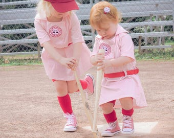 A League of Their Own Vintage inspired Rockford Peaches Dottie dress with Belt and front patch, Size 24 month or 2T, Birthday, wedding