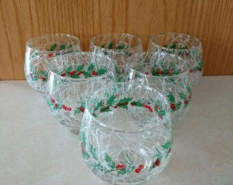 Vtg Libbey Tempo Old Fashioned 8 oz White Drizzle Holly Berry Christmas Glassware Set