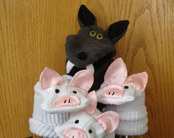 Big Bad Wolf hand puppet and Three Little Pigs sock puppets