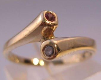 XMAS in JULY SALE Vintage 14k Ruby & Diamond Ring Size 6.5 Fine Jewelry Jewellery