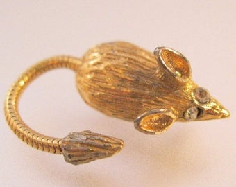 XMAS in JULY SALE 1960s Vintage Mouse Scatter Pin Brooch with movable tail Vintage Jewelry Jewellery