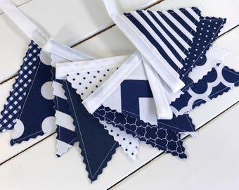 Bunting Banner Mini, Fabric Banner, Fabric Flags, Baby Boy Nursery Decor, Birthday Decoration - White,Navy Blue,Chevron,Dots,Stripes