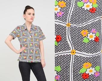 Vintage 70s Polka Dot Shirt | B&W Floral Top | Collared Polo Shirt | Short Sleeve Retro Knit Top | White Black | Small Medium S M