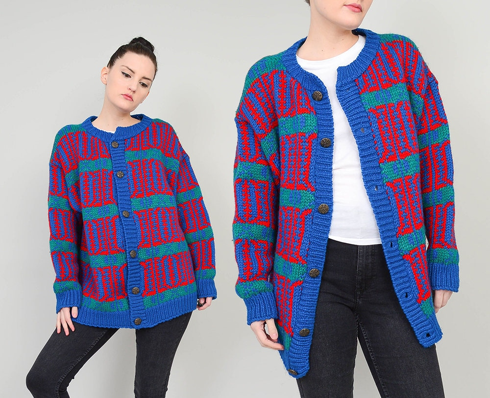 90s Ethnic Striped Cardigan | size M L | Chunky Sweater Wool Knit ...