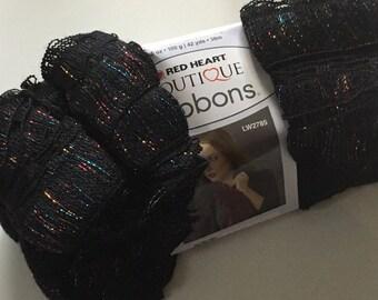 Red Heart Boutique Ribbons Yarn #1012 Fireworks - Black w/ Metallic Accent 100 gram Ruffling Ladder Edge Yarn