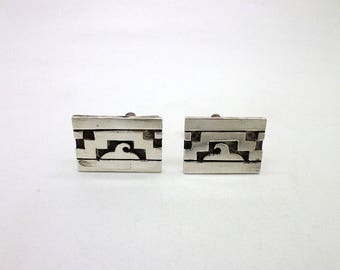 Vintage Mexican Taxco Sterling Silver Cufflinks Cuff Links Great Gift Idea