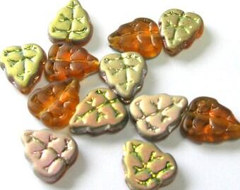 Topaz Czech Glass Leaf Beads - Czech Glass Beads