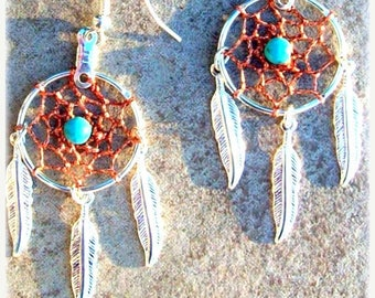 SALE DREAM CATCHER Earrings Silver with sunset copper dream web and Turquoise, dreamcatcher earrings, dream catcher earrings, turquoise silv