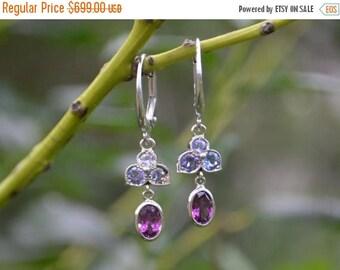 SALE Purple Garnet Dangly Earrings, gemstone dangly earrings, petal earrings, oval white gold earrings, white gold dangly earrings, gifts fo
