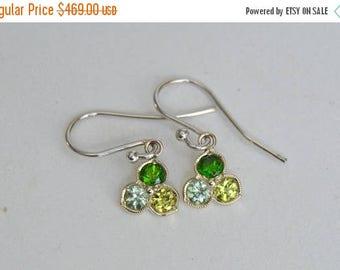 SALE White Gold Petal Earrings, flower petal dangly earrings, trillium dangly earrings, mint garnet earrings, peridot earrings, tsavorite ea