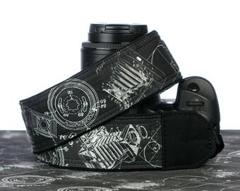 Camera Strap, Vintage Cameras, dSLR, SLR, Patent Print Drawing,  Chalkboard, Canon camera strap, Nikon camera strap, Camera Neck Strap,  263