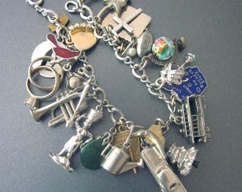 Loaded Sterling Charm Vintage Bracelet Automobile, Globe, Horn, Cross Charm