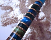 "RESERVED-The ""Princess Eve"" Hair Stick Featuring African Blackwood Inlaid with 20 Resin Insets and 21 Gold Extreme Pearl Essence Bands"