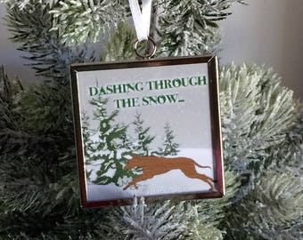 Greyhound Dashing Through The Snow Ornament, Greyhound Ornament, Greyhound Christmas, Greyhound gift, Greyhound, Greyhound gifts,