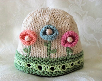 Baby Hat Knitting Knit Baby Hat Knitted Baby Beanie Knitted baby hats  Clothing Cotton Baby Hat with Flower