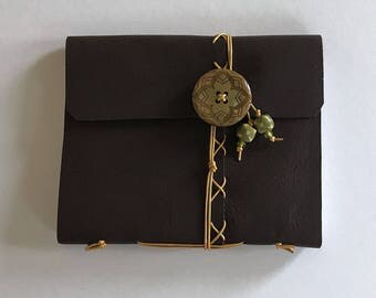 Brown with Gold Cross Stitch - Large Leather Journal