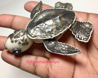 Baby Loggerhead Sea Turtle // Polymer Clay Figurine