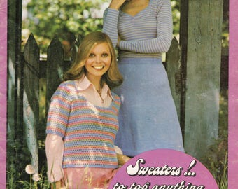 Patons Sweaters to Top Anything Vintage 1970s Book of Knitting and Crochet Patterns Knit Sweaters Skirts Tops Jackets