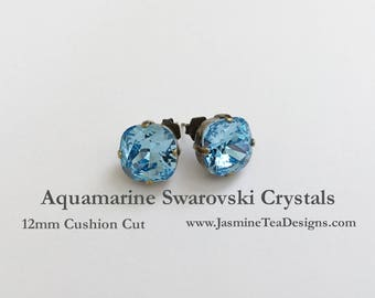 Aquamarine Swarovski Earrings, 12mm Cushion Cut Swarovski Crystals, Set In Vintage Patina Antique Brass, Post Setting, Stud Earrings
