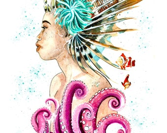 Lion Lily Watercolor Art Print Underwater Ocean