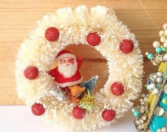 SALE Handmade Mini Christmas vintage Santa Claus deer Christmas tree wreath.  Handmade Christmas. Mantel decor. Holiday decor.