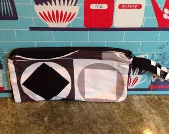 SALE Mod retro wristlet.  Black and white geometric shapes.  Zippered bag. Handmade wristlet.