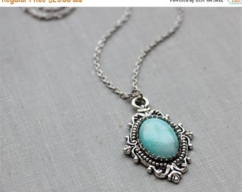 VACATION SALE- Amazonite Necklace. Gemstone Necklace. Antique Silver or Antique Bronze