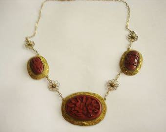 Asian Vintage Jewelry Red Cinnabar Hand Made Carved Necklace  Jewelry China