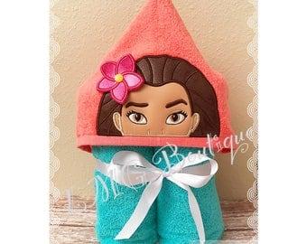 Moana Hooded Bath Towel,  Polynesian Beauty Pool Towel, Hooded Towel,kids bath towel, Kids beach towel, Kids personalized towel gift