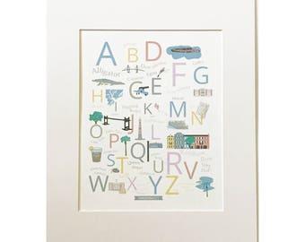 Charleston A to Z Print, Charleston SC, Gift Idea, Letter Art, Typography, Kids Room, Kids Decor, Nursery, Charleston Gift, Wall Art, Print