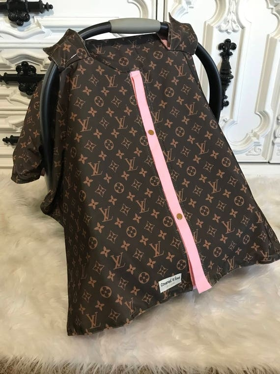 LV infant car seat canopy , car seat cover , LV and Light Pink