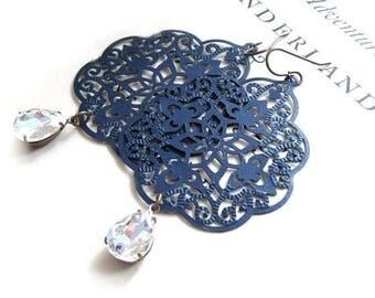 SALE 50% off Sapphire Earrings Blue Earrings Filigree Earrings Lace Jewelry Rhinestone Jewels Bohemian - Midnight Lace