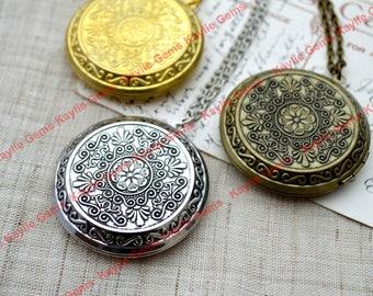 Victorian Large Round Vintage Style Lockets Pendant Necklace