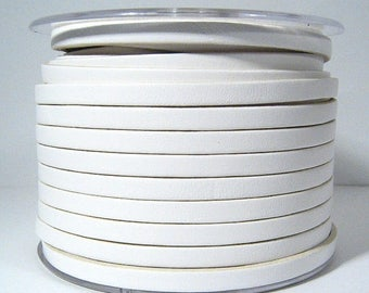 25% Off 5mm Flat Leather - White - 5F-24 - Choose Your Length