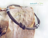 Simple Mens grey brown leather knot friendship bracelet // boys youth rugged surf skater style leather with pewter // unisex cuff or anklet