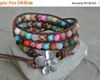SALE 60% OFF JustHipStuff Gemstone  Beaded Leather Wrap Bracelet