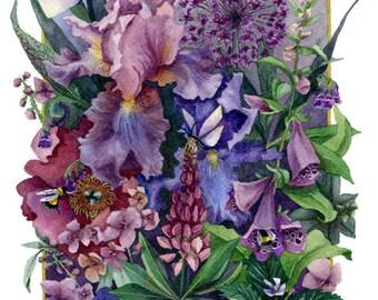 Fine Art Print of Original Watercolor Painting - Portrait Of A Garden