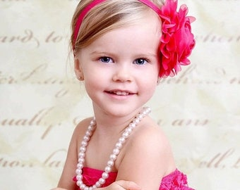 Hot Pink Flower Headband, Hot Pink Flower Jumbo Chiffon Rose Stretchy Hot Pink Headband or Hair Clip, The Emma, Baby Child Girls Headband