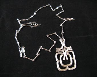 1960s silver modernist necklace avon articulated mod statement pendant and chain
