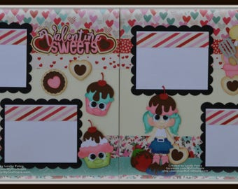 Valentine's Day Sweet Love Cupcakes Shopkins Paper Piecing  Premade Scrapbook Page Layout 12x12