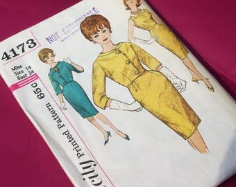 Retro Slim One Piece Dress and Jacket Sewing Pattern size 14