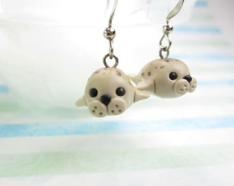 Harbor Seal Earrings, seal jewelry, seal charm, polymer clay, cute miniature animal earrings, white baby seal, unique earrings gift her